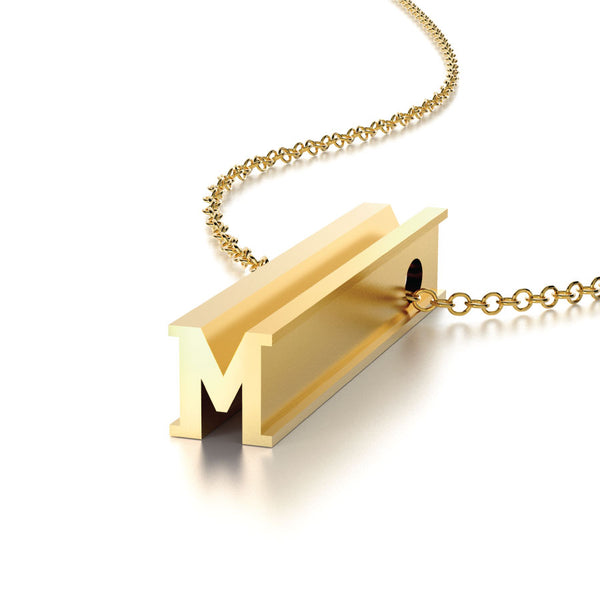 LETTER M NECKLACE-14k YELLOW GOLD VERMEIL-outlet