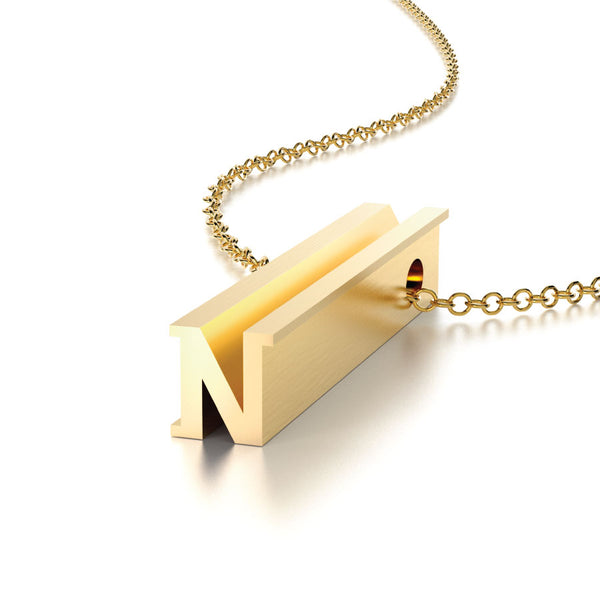 LETTER N NECKLACE-14k YELLOW GOLD VERMEIL-outlet