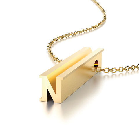 Hidden Message Necklace Letter N Gold Vermeil Charm Pendant