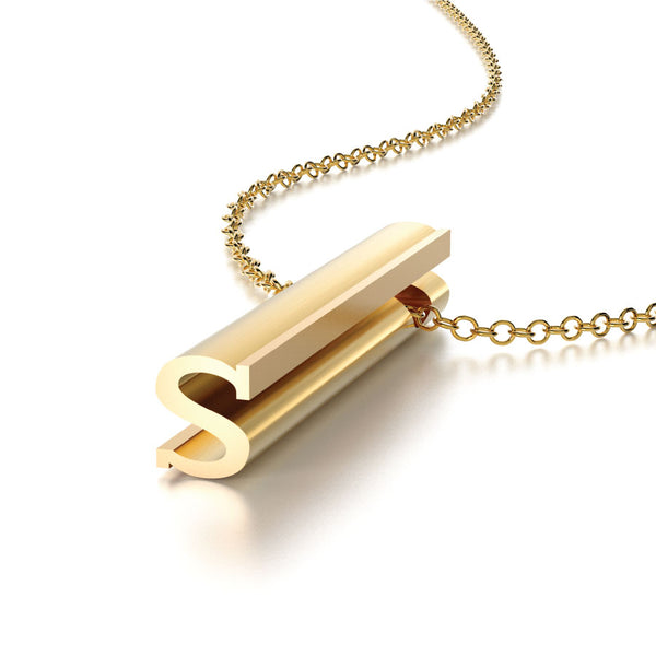 LETTER S NECKLACE-14k YELLOW GOLD VERMEIL-outlet