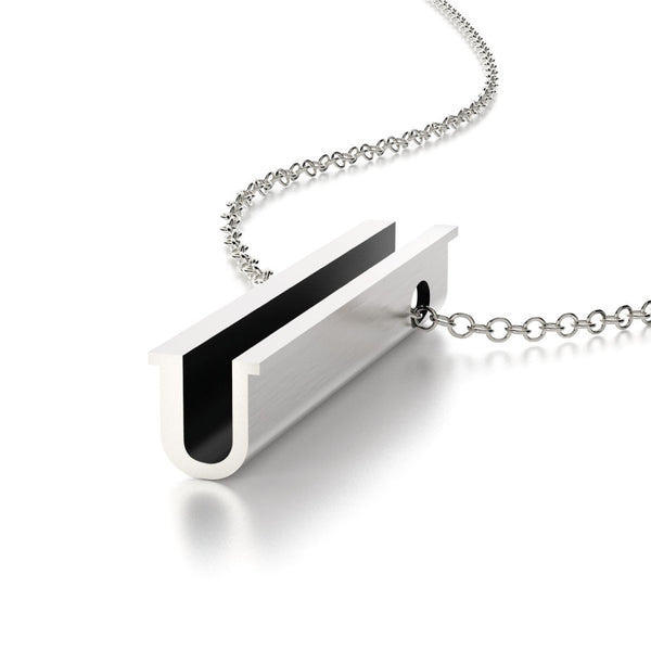 Hidden Message Necklace Letter U Sterling Silver Symbol Pendant