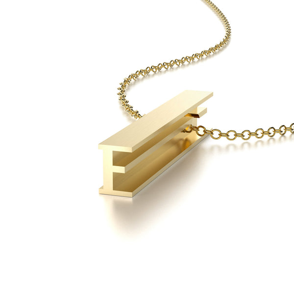 LETTER E NECKLACE-14k YELLOW GOLD VERMEIL-outlet