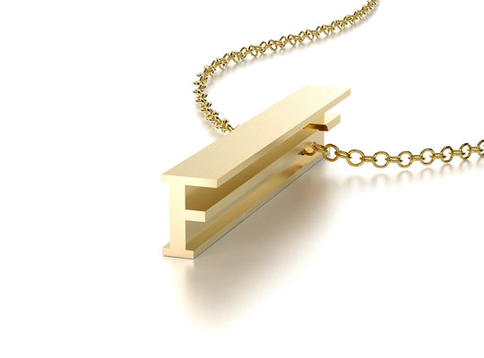 LETTER F NECKLACE-14k YELLOW GOLD VERMEIL-outlet