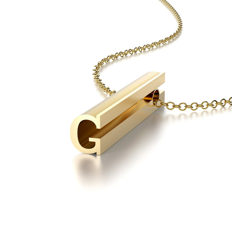 LETTER G NECKLACE-14k YELLOW GOLD VERMEIL-outlet