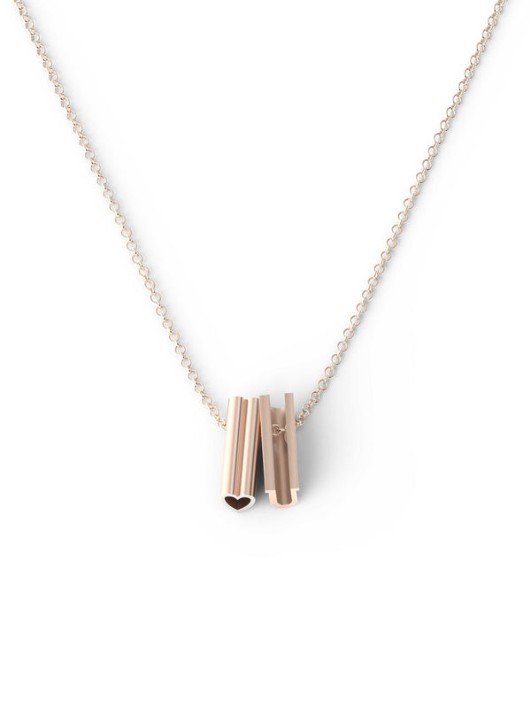heart U Necklace - 14K Rose Gold