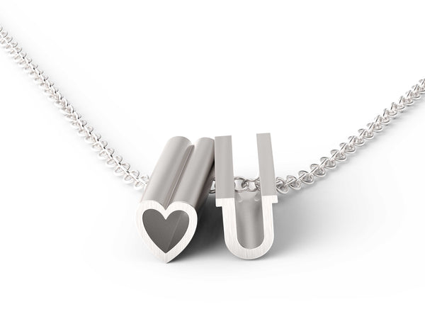 heart U Necklace - Silver