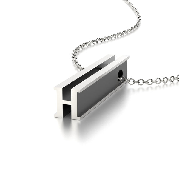 LETTER H NECKLACE-STERLING SILVER-outlet
