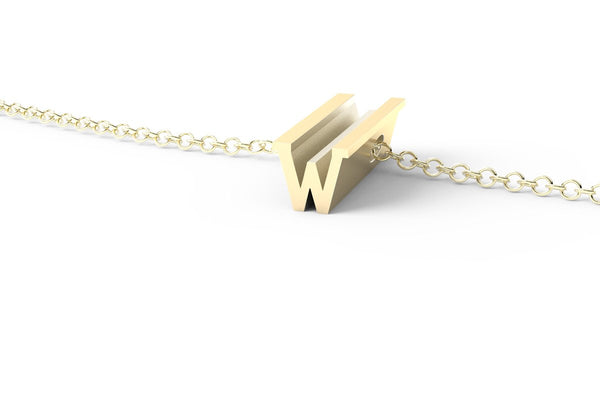 Letter W Short Pendant Necklace