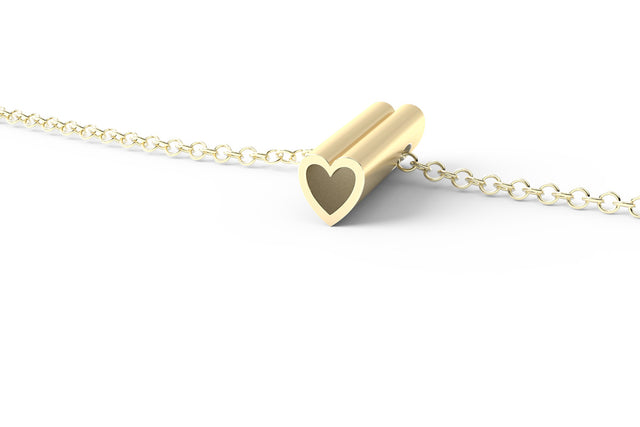 HEART // 14k YELLOW GOLD // SHORTY // CABLE CHAIN