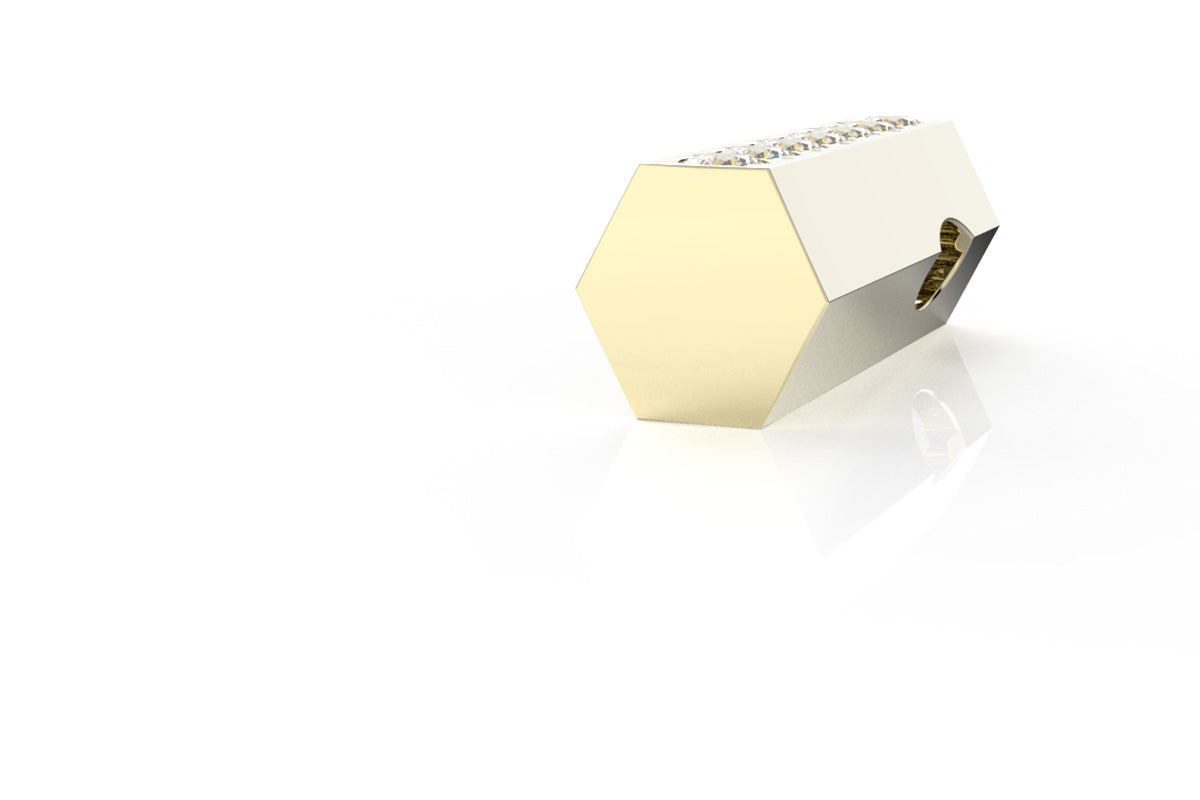 14k BIRTHSTONE HEXAGON - Pendant