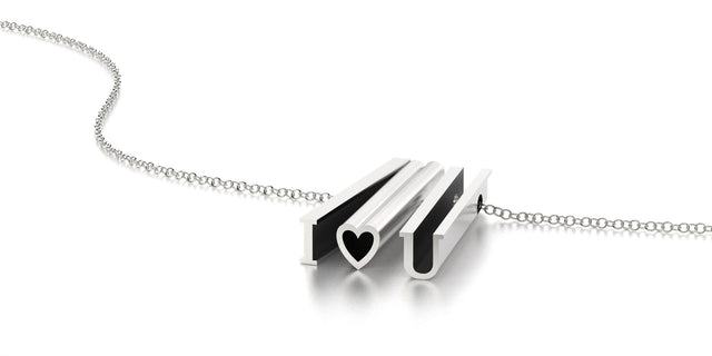 I heart U NECKLACE-STERLING SILVER-outlet