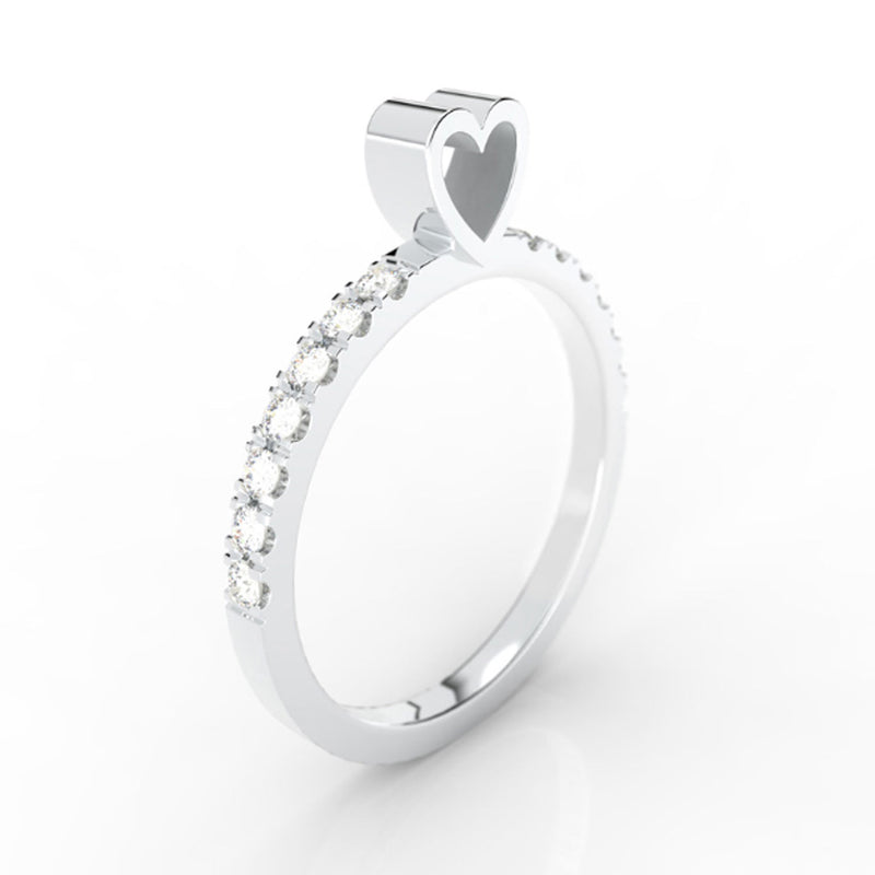HEART w/ pavé - SLICE RING