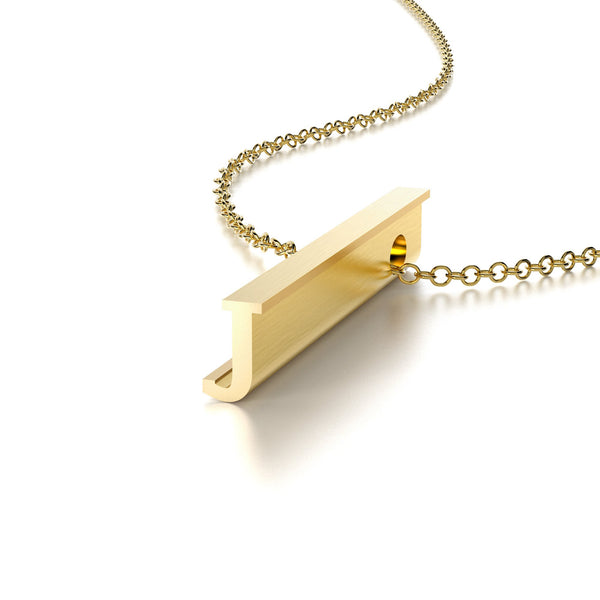 LETTER J NECKLACE-14k YELLOW GOLD VERMEIL-outlet