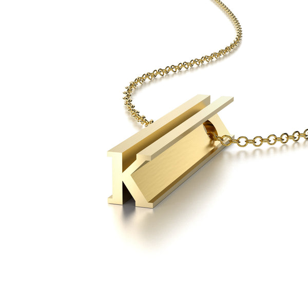 LETTER K NECKLACE-14k YELLOW GOLD VERMEIL-outlet