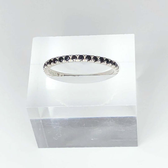 STERLING SILVER - BLACK SPINEL PAVE - STACKING BAND - OUTLET