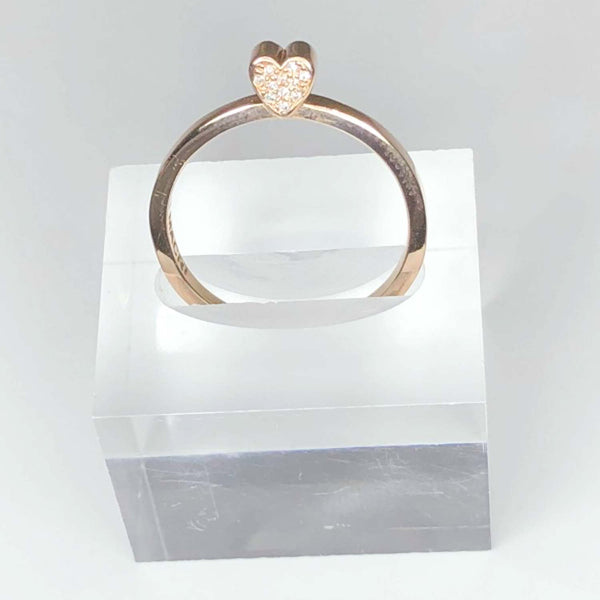 14k ROSE GOLD - PAVE DIAMOND HEART - SLICE RING - OUTLET