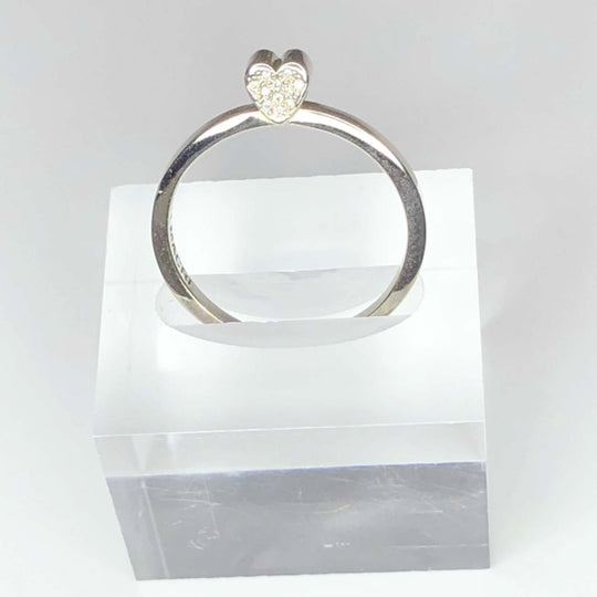 14k WHITE GOLD - PAVE DIAMOND HEART - SLICE RING - OUTLET