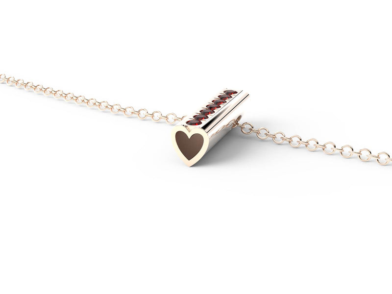 Rose Gold Birthstone Heart Pendant Necklace - Short