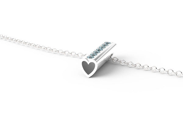 White Gold Birthstone Heart Pendant Necklace - Short
