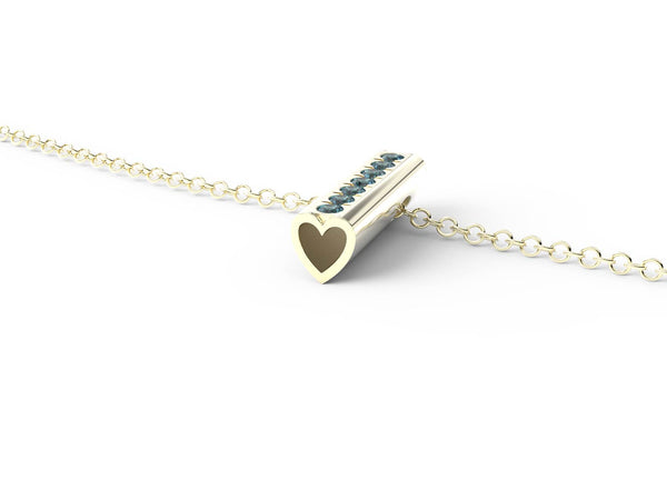 Yellow Gold Birthstone Heart Pendant Necklace - Short