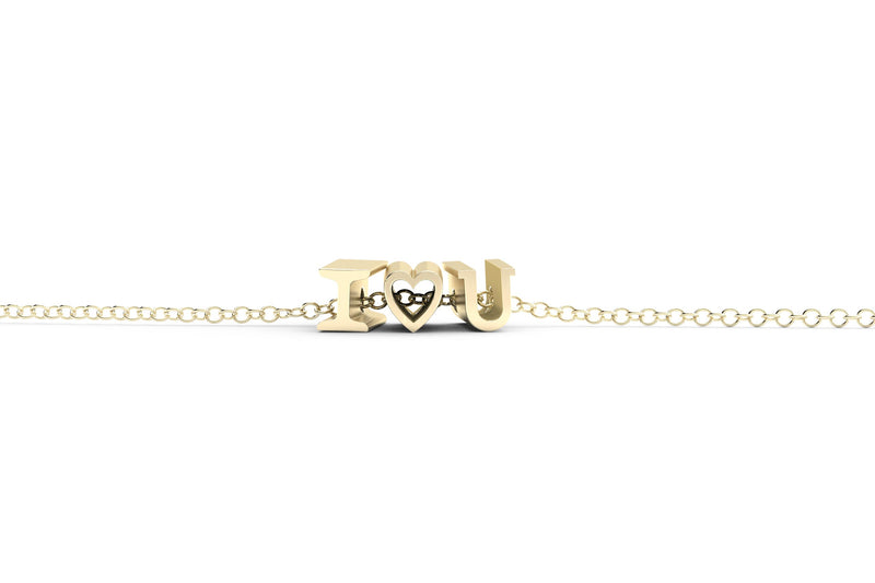 I heart U Necklace - 14k Yellow Gold