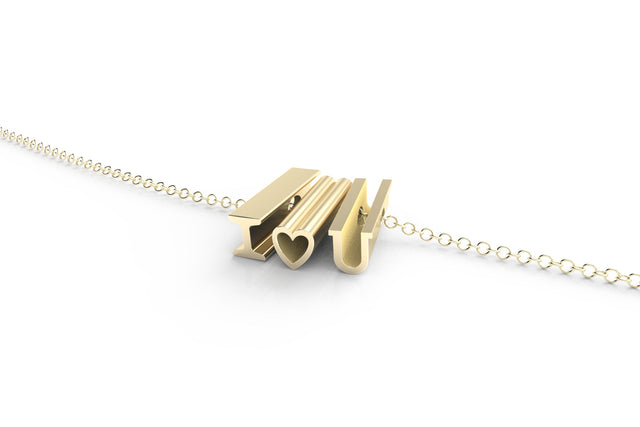 I heart U // 14k YELLOW GOLD // SHORTY // CABLE CHAIN