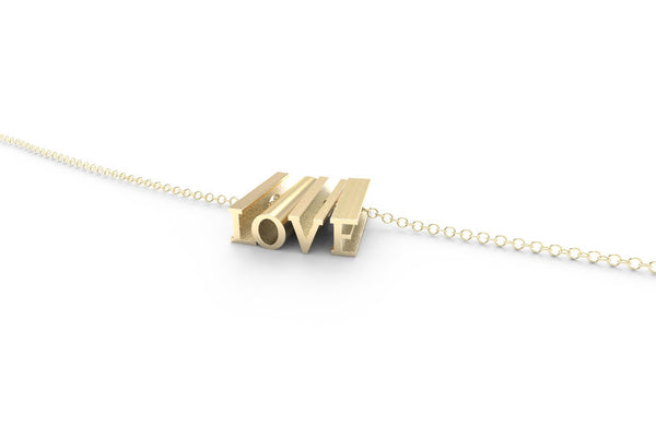 LOVE Necklace - 14k Yellow Gold