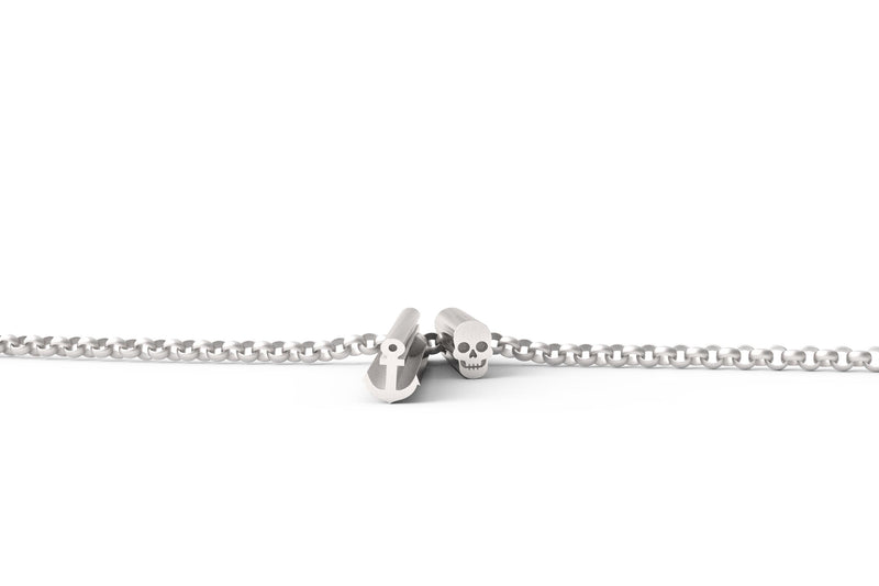 Anchor Skull Necklace - Silver