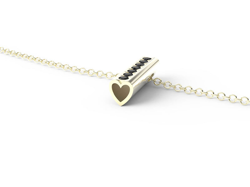 Yellow Gold Diamond Heart Pendant Necklace -Short