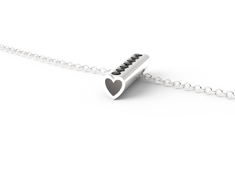 Silver Stone Heart Pendant Necklace - Short