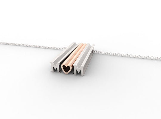 M-heart-M // STERLING SILVER & 14k ROSE GOLD // ORIGINAL // CABLE CHAIN