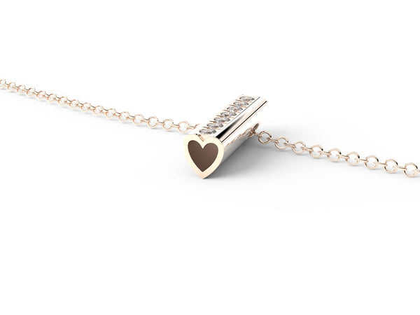 Rose Gold Diamond Heart Pendant Necklace -Short