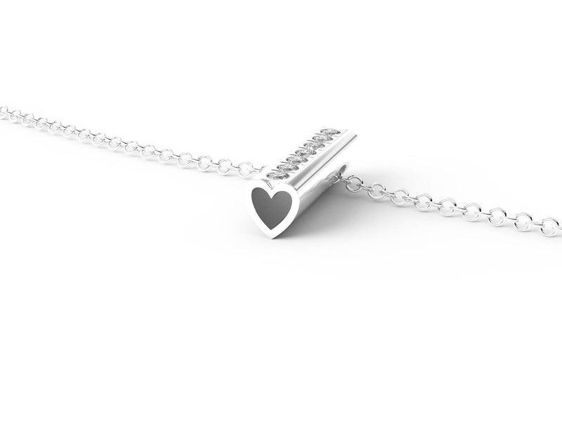 White Gold Diamond Heart Pendant Necklace -Short