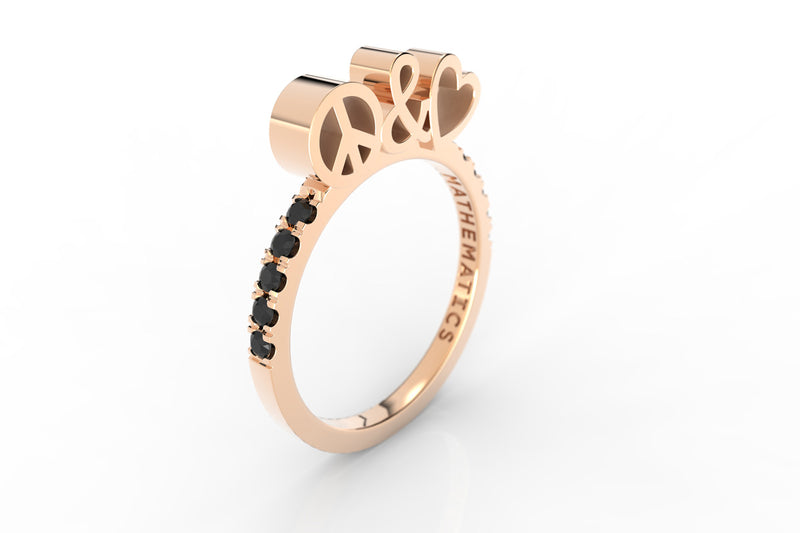 PEACE & LOVE RING WHITE & BLACK DIAMOND PAVE 14k ROSE GOLD