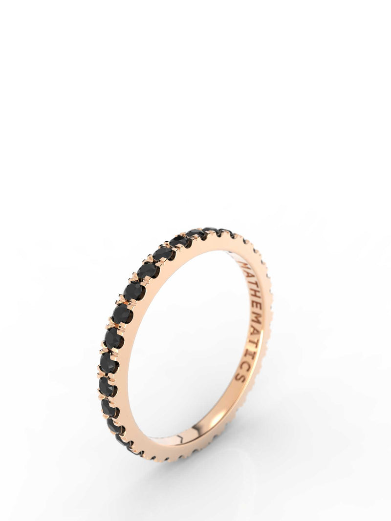 STACKING BAND RING WHITE & BLACK DIAMOND PAVE 14k ROSE GOLD