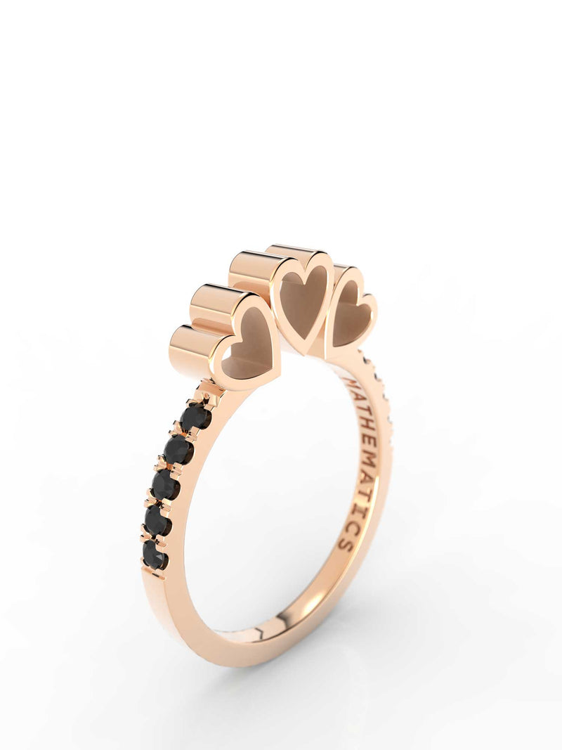 TRIPLE HEART RING WHITE & BLACK DIAMOND PAVE 14k ROSE GOLD