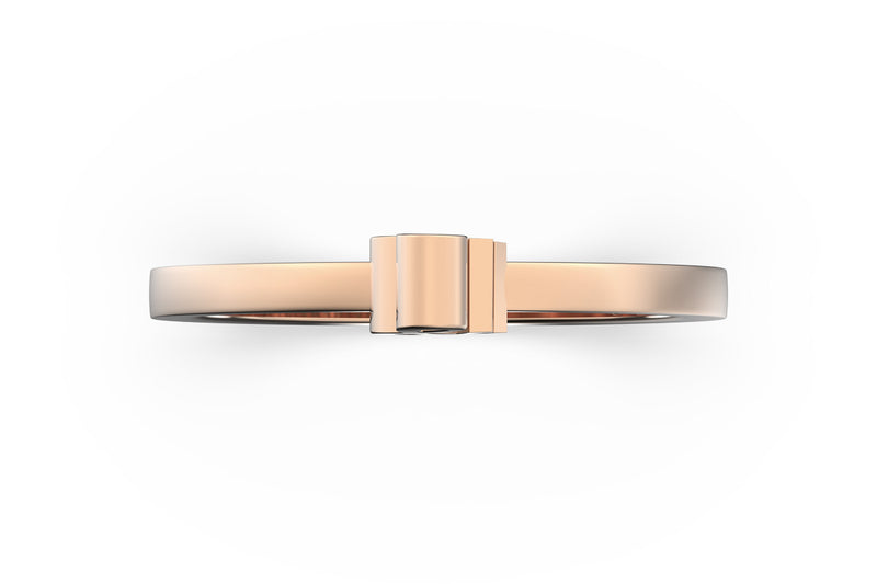 Isometric view of 14k rose gold ampersand slice ring, featuring architectural slice design