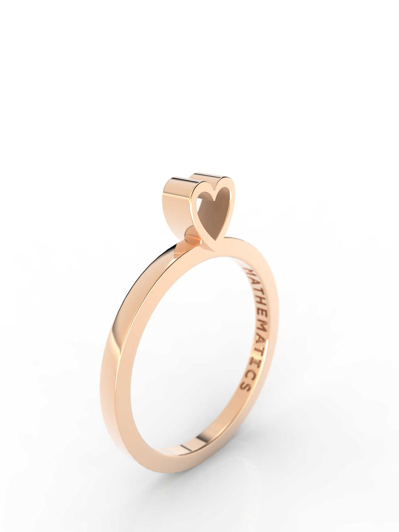 Top view of 14k yellow gold heart slice ring, featuring length and look of slice ring design