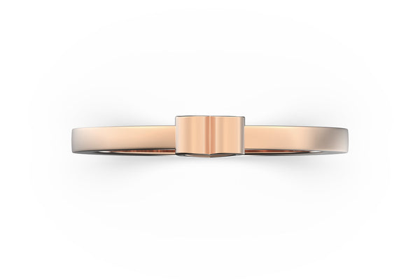 Isometric view of 14k rose gold heart slice ring, featuring architectural slice design