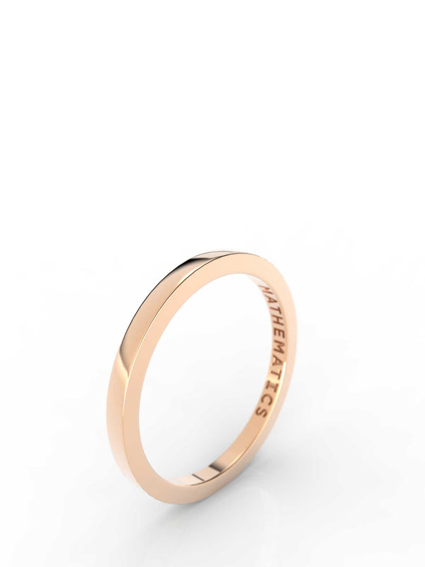 Top view of 14k yellow gold stacking band, featuring length and look of slice ring design