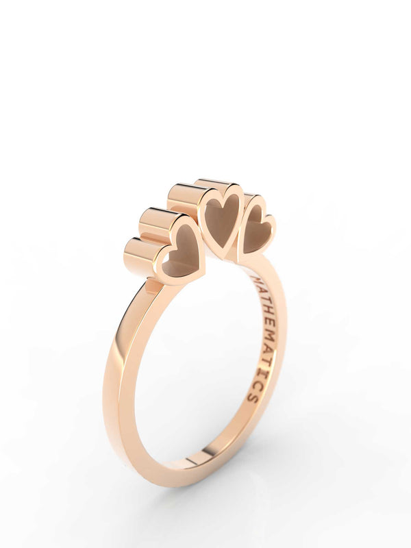 Top view of 14k yellow gold triple heart slice ring, featuring length and look of slice ring design