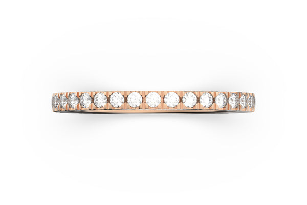 Isometric view of 14k white gold diamond pavé stacking band, featuring architectural slice design and white diamonds
