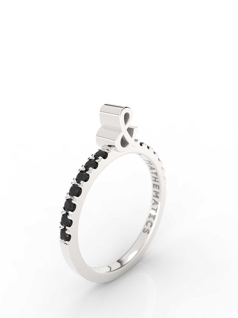 AMPERSAND RING WHITE & BLACK STONE PAVE STERLING SILVER