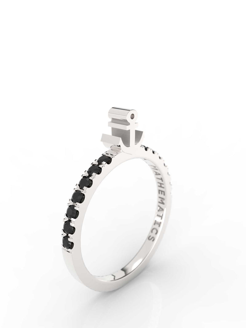 ANCHOR RING WHITE & BLACK STONE PAVE STERLING SILVER