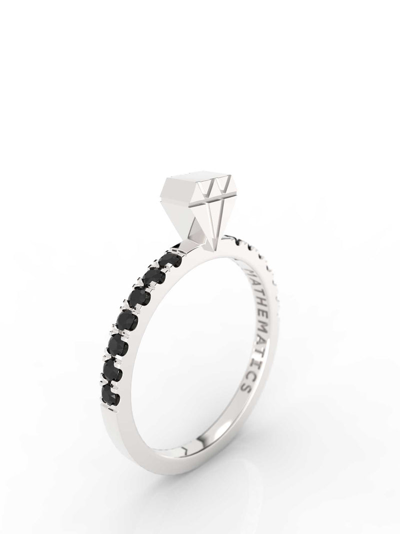DIAMOND RING WHITE & BLACK STONE PAVE STERLING SILVER
