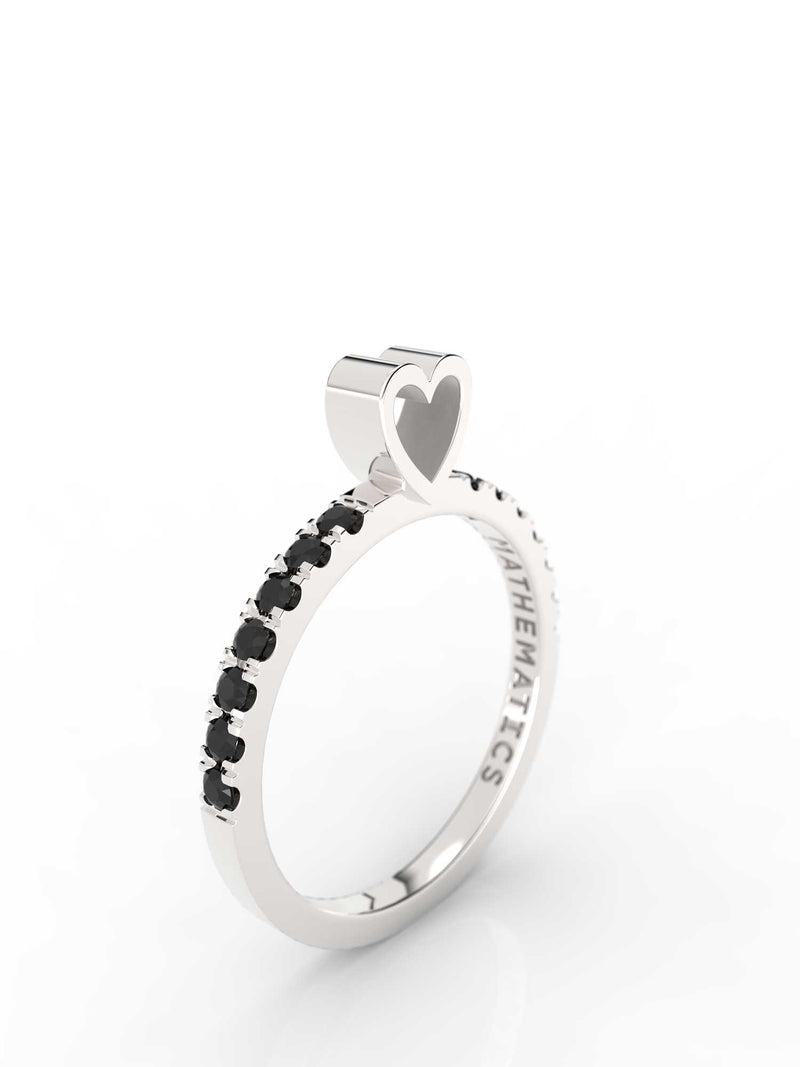 HEART RING WHITE & BLACK STONE PAVE STERLING SILVER