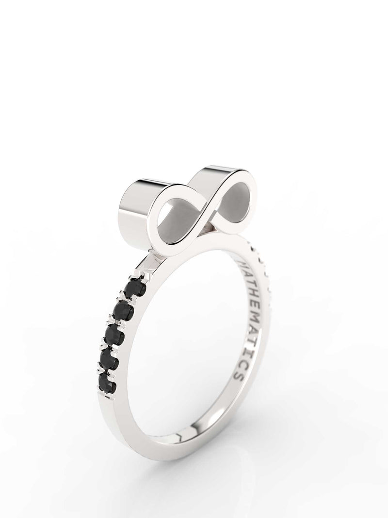 INFINITY RING WHITE & BLACK STONE PAVE STERLING SILVER
