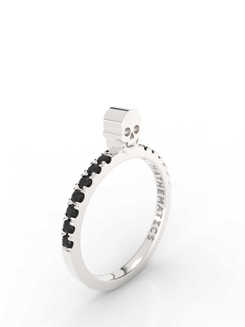 SKULL RING WHITE & BLACK STONE PAVE STERLING SILVER