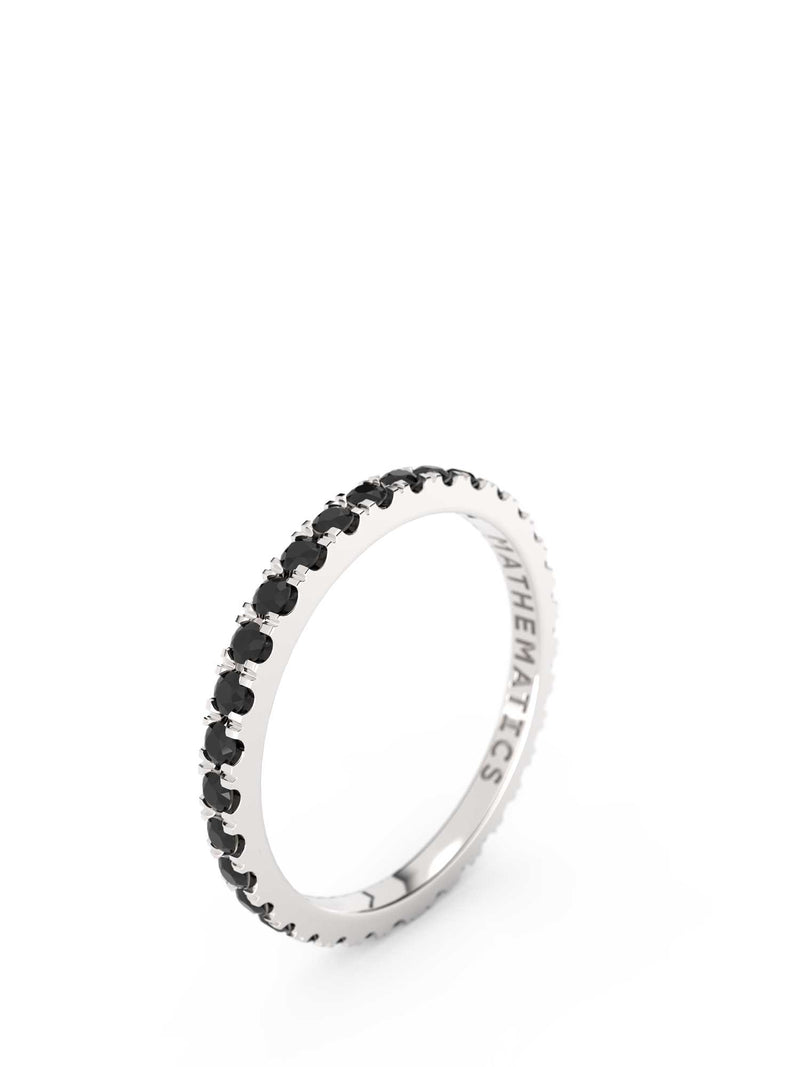STACKING BAND ETERNITY RING WHITE & BLACK STONE PAVE STERLING SILVER