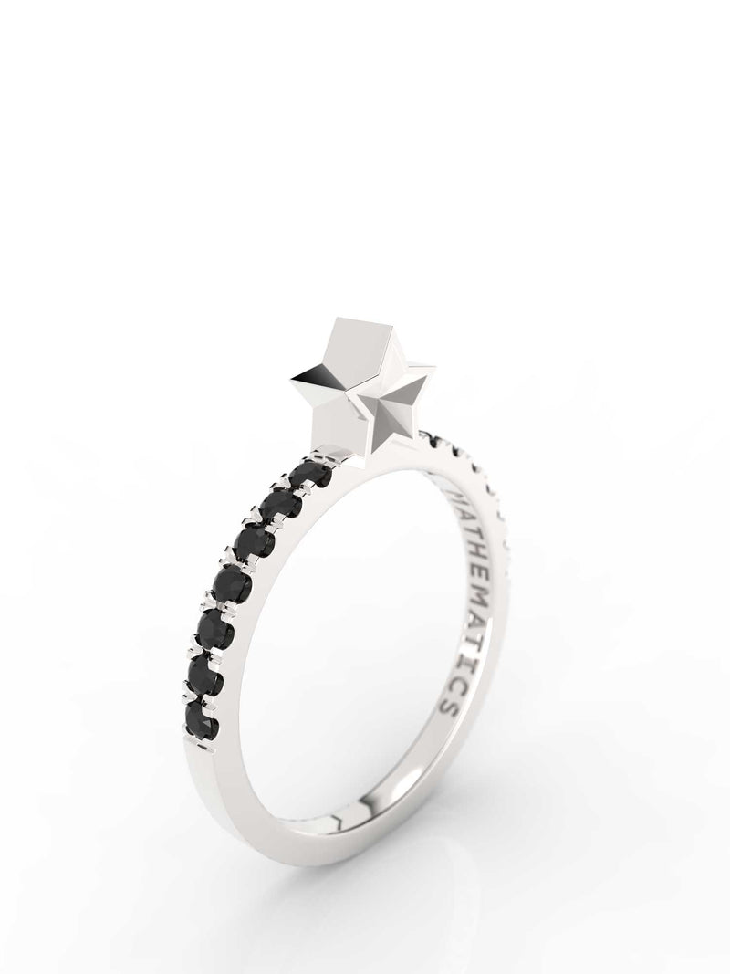 STAR RING WHITE & BLACK STONE STERLING SILVER